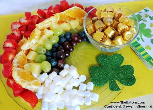 "St. Patrick's Day Recipe – Rainbow Fruit Tray is easy, healthy, fun, and colorful with a ""Pot of Gold"" at the end of the rainbow!  #StPatricksDay"