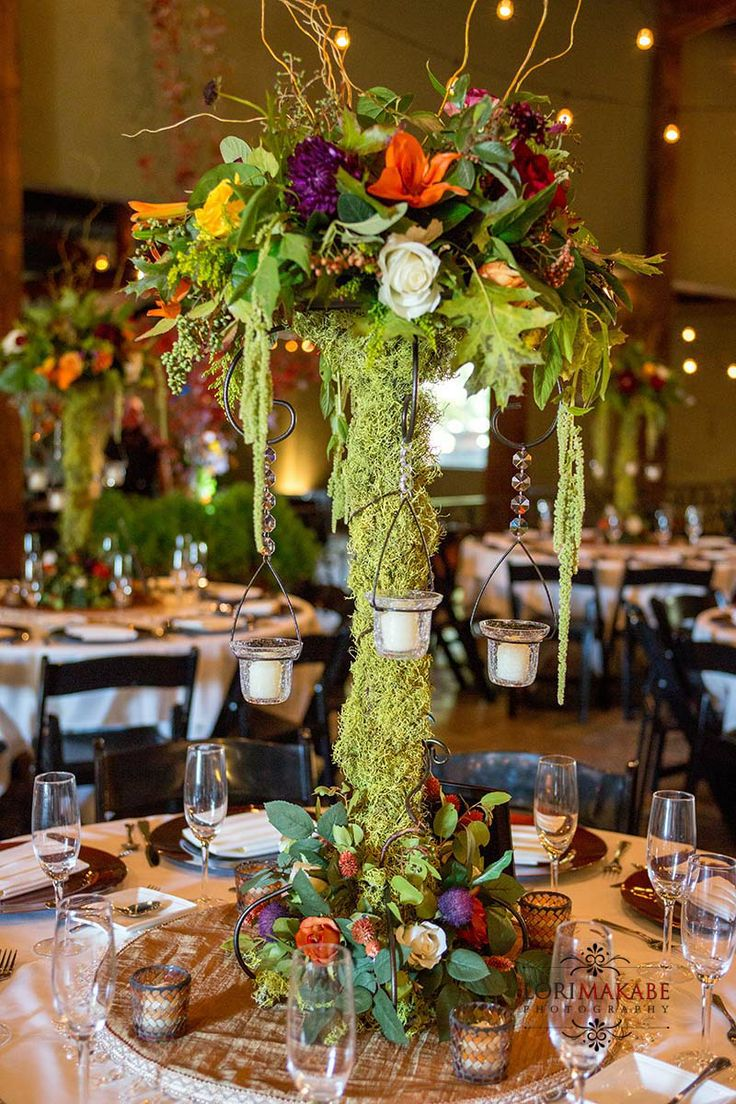 Rustic Moss Covered Candelabra Centerpiece