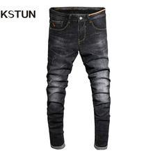 2017 Otoño Jeans Negro Flaco Pantalones de Mezclilla de Moda Desinger ropa de Algodón de Alta Tramo Slim Fit Pantalones Largos Hombre Homme 38(China)