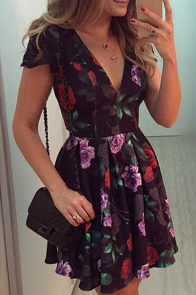 Plunging Neck Full Flower Print Dress