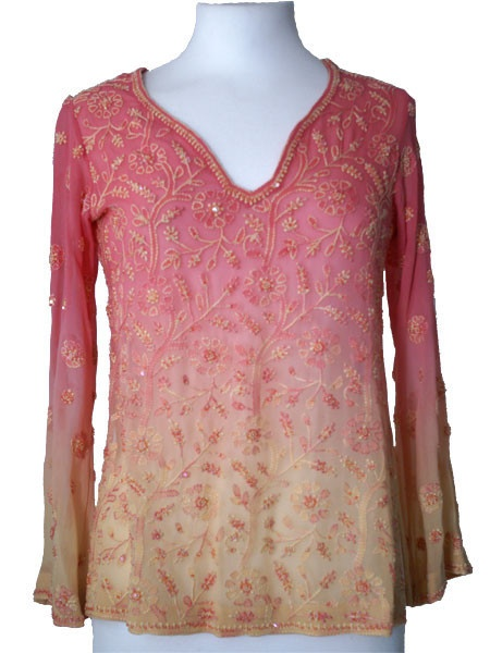 Peach/Yellow Silk Kurti Top