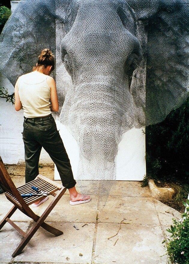 Kendra Haste, sculpture d'animaux en grillage