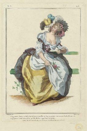 """""""L'agaçante Finette, en Juste à la Susanne et coëffée en Figaro, tenant avec autant d'adresse que de négligence la rose champêtre qu'elle destine à qui saura lui plaire"""", Gallerie des Modes, 1784; MFA 44.1592"""