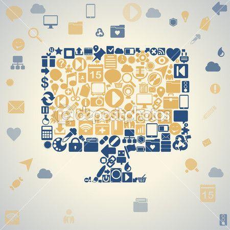 Социальная средств массовой информации, общение в глобальных компьютерных сетях — Векторная картинка #34059069
