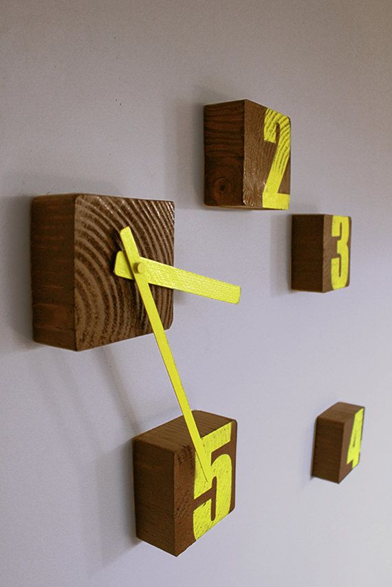Block Clock Wooden wall clock Graffiti clock by SuitCaseWorkshop