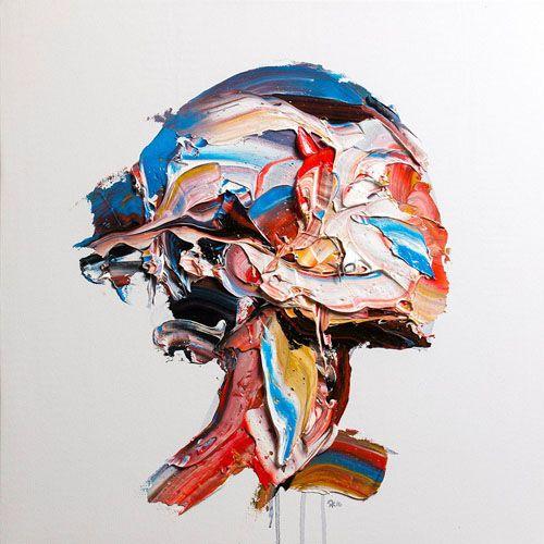 巨大なパレットナイフと油絵の具の厚い塊で描かれた肖像画