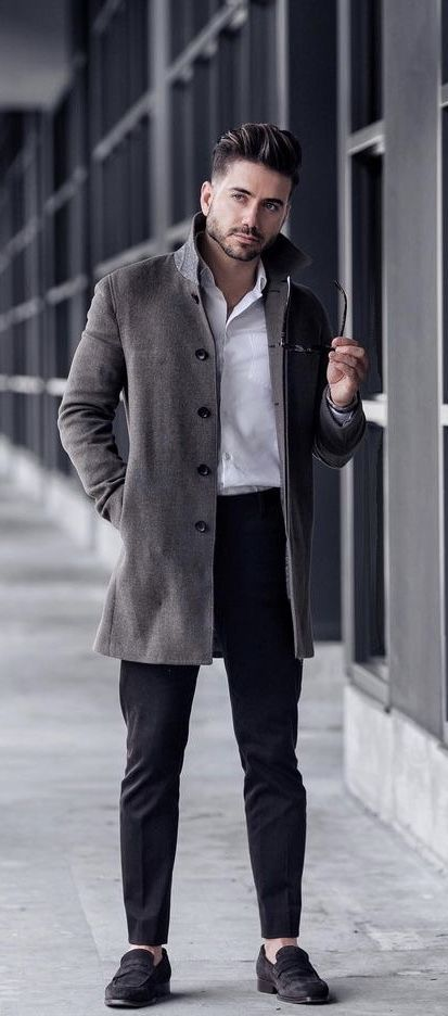 b9793547066  alexcosta - with a fall combo idea with a gray topcoat white button up  shirt black trousers black framed glasses no show socks black suede loafers.
