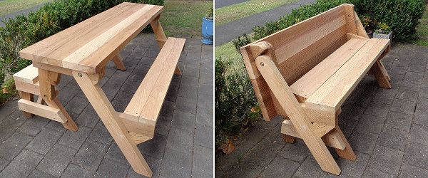 Folding picnic table in both picnic table mode and bench mode