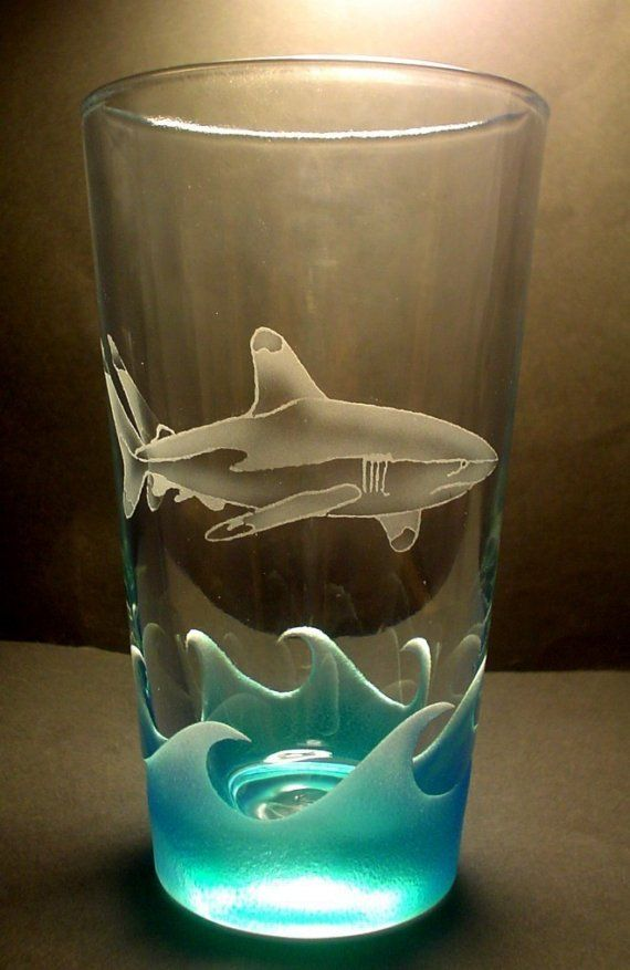 White Tip Reef Shark Pub Glass Sandblasted Painted NEW DESIGN. $20.00, via Etsy.