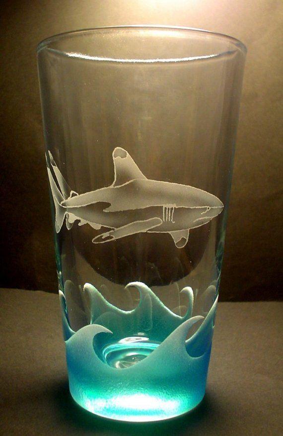 White Tip Reef Shark Pub Glass Sandblasted Painted NEW DESIGN. $20.00, via Etsy.