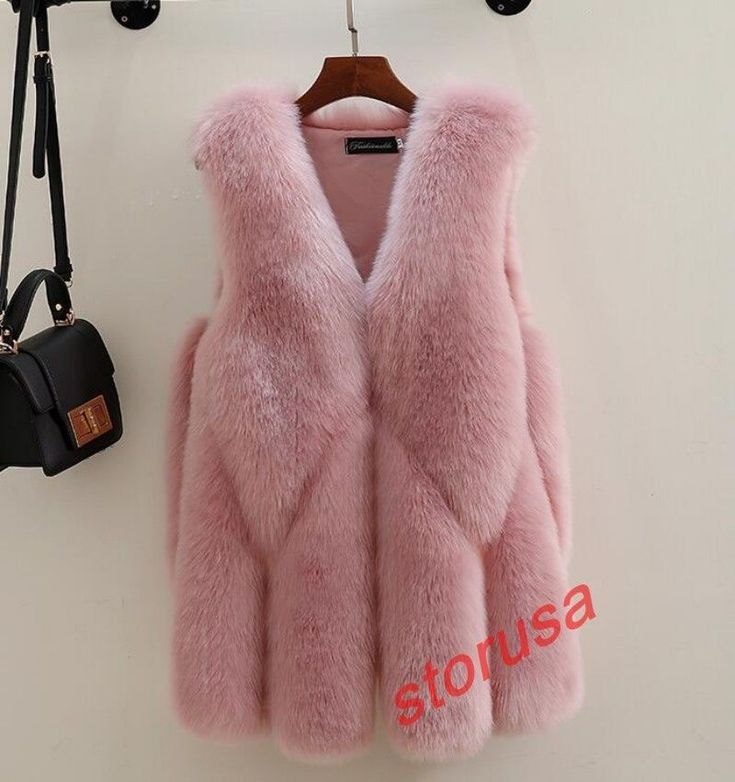 Chic Ladies Fur Hip Length Winter Warm Outdoor Vest Gilet Slim Sleeveless Jacket