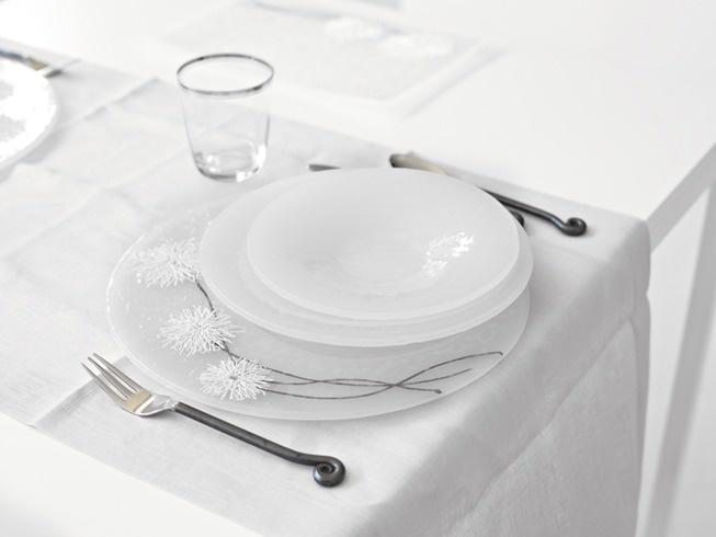 Andretto © Design - Table plates set white wires - Murano glass