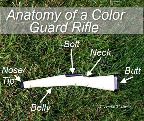 What the parts of a color guard rifle are called #colorguard  #rifle #winterguard