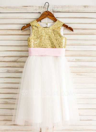 [US$ 57.99] A-Line/Princess Knee-length Flower Girl Dress - Tulle/Sequined Sleeveless Scoop Neck With Sash/Bow(s)/Back Hole