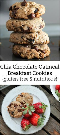Delicious gluten free breakfast cookies packed omega-3 thanks to walnuts and chia seeds. These cookies have no butter, flour or added sugar!