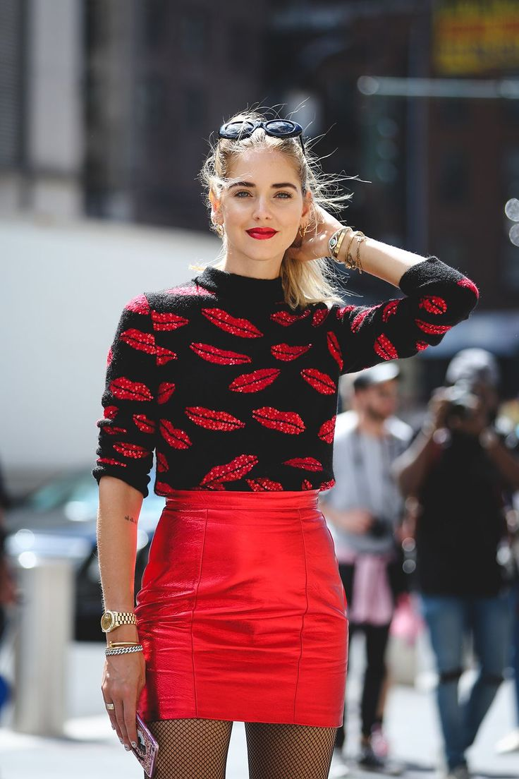 The Raddest Beauty Street Style From NYFW #refinery29  http://www.refinery29.com/2016/09/122660/best-makeup-hair-nyfw-spring-2017-photos#slide-9  Why have one red lip when you can have dozens?...