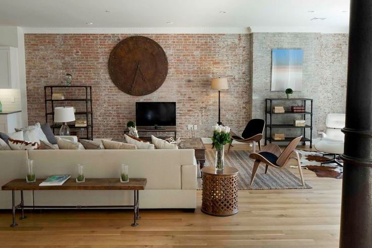 Fantastic Brick Wall Decor to Your Home: Retro Modern Living Room Design White Oak Floor Exposed Brick Walls