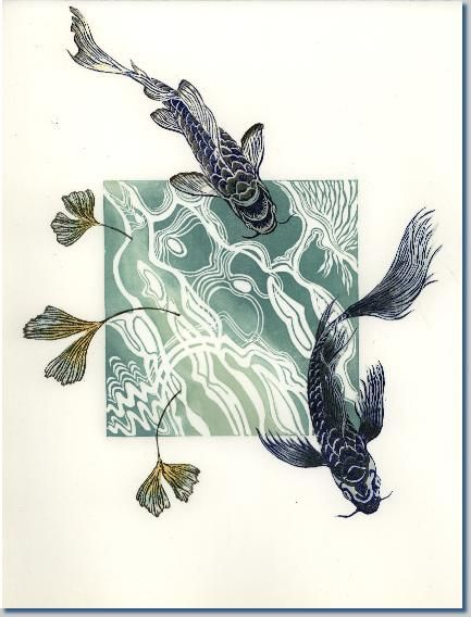 """a series of prints titled """"Branches into Wings""""; monoprints (re)using lino & woodcuts by April Wilson"""