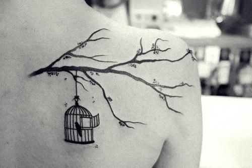 bird, cage, tattoo, tree branch