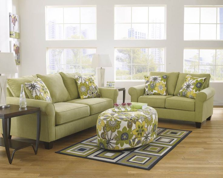 Nolana Citron Charcoal Polyester Living Room Set