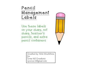 Part of my classroom management has to do with how we sharpen and take care of our pencils. I have pre sharpened pencils ready to go in the morning and after lunch, that way no one is sharpening pencils while I am teaching or the class is working. I use containers for sharp pencils, dull pencils, and borrowing teacher pencils.