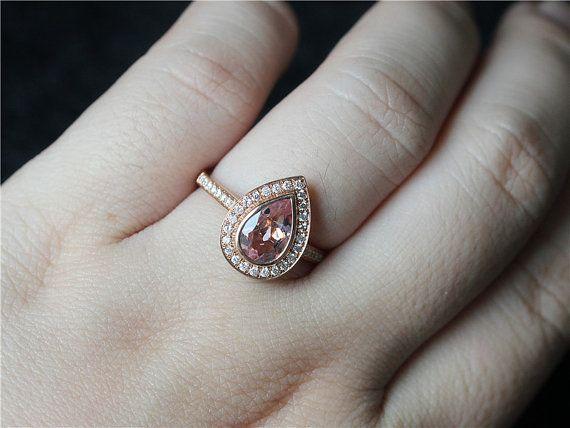 Bezel Engagement Ring 14K Rose Gold 6x9mm Pear by LeeCityDesign