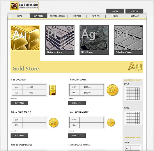 Website design for Bullion mart - Simple and Grid system Design, colored by YellowAndRed