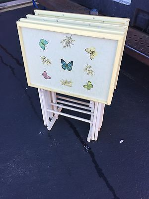 4 Vintage Pop Art Butterfly Plastic TV Tray Tables With Stand Artex  Butterflies