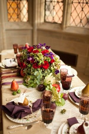 Plums, purples, persimmons: Thanksgiving dinner #holiday #table