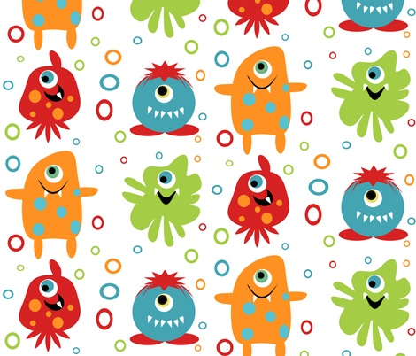 Super cute baby monster fabric telas pinterest thank for Baby monster fabric