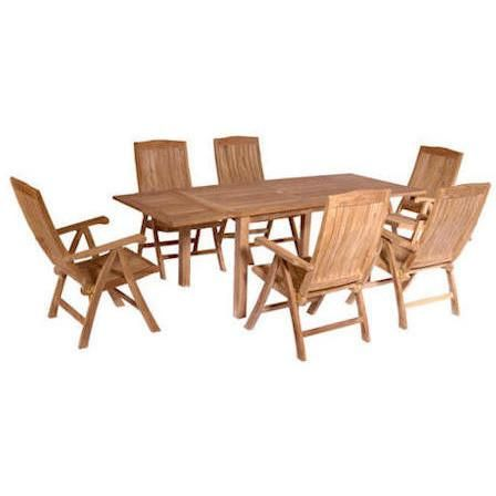 Anderson Teak Rectangular Extension Table + 6 Recliner Armchairs