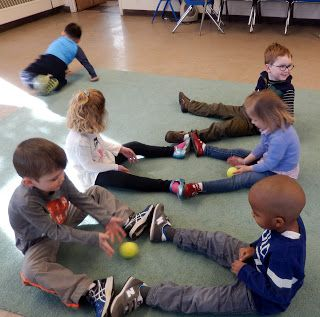 "Song/Gross Motor Game, ""Roll the Ball"" by Carole from Macaroni Soup (via PreK & K Sharing)"