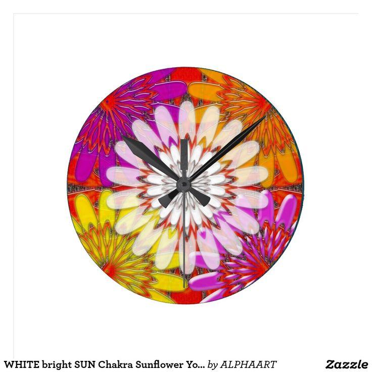 WHITE bright SUN Chakra Sunflower Yoga Mandala FUN Round Wall Clocks