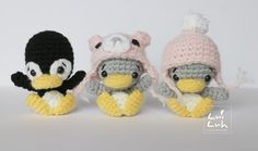 Amigurumi Baby Penguin ( 9cm tall) - Free Crochet Pattern - Available in English and German here: http://luiluh-handmade.de/luiluh-baby-penguin-pattern/ Woolly hat Pattern here: http://luiluh-handmade.de/woolly-hat-for-luiluh-elephant/