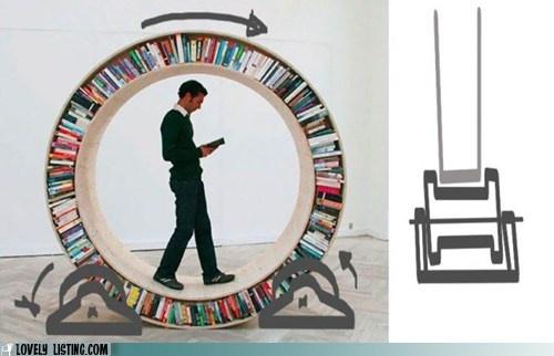Be the hamster: Bookshelves, Bookshelf Design, Books Shelves, Colors Design, Interiors Design, Wheels, Hamsters, Circle, Products Design