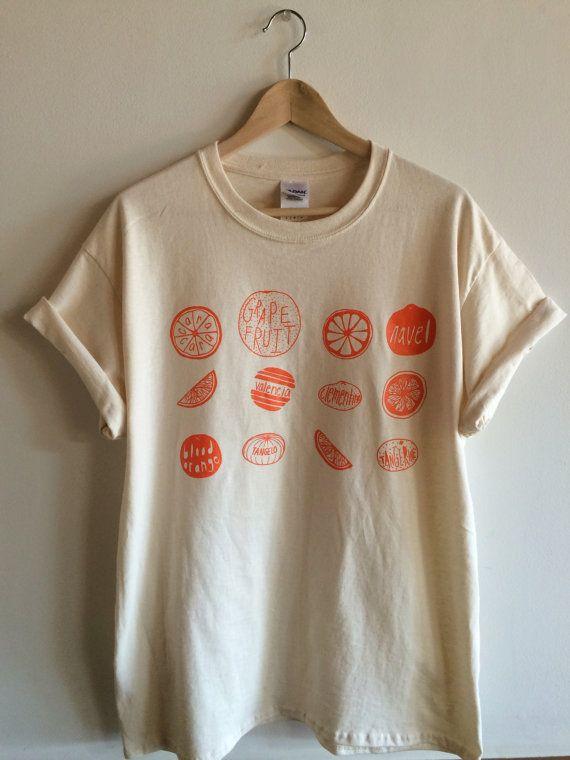 Screen Printed Oranges T Shirt, Fruit Print