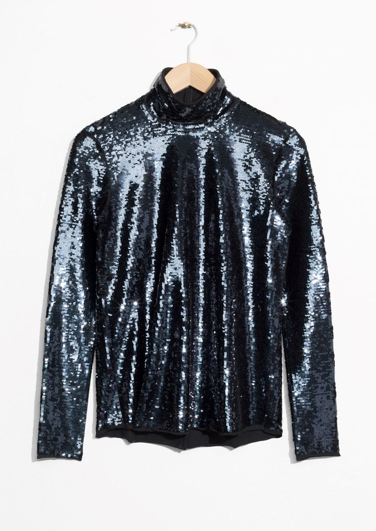 & Other Stories | Sequined Turtleneck Top in Blue
