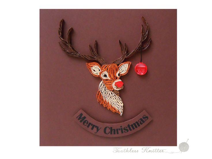 DIY Quilled Christmas Card with Rudolph / Quillingowa Kartka Bożonarodzeniowa z Rudolfem