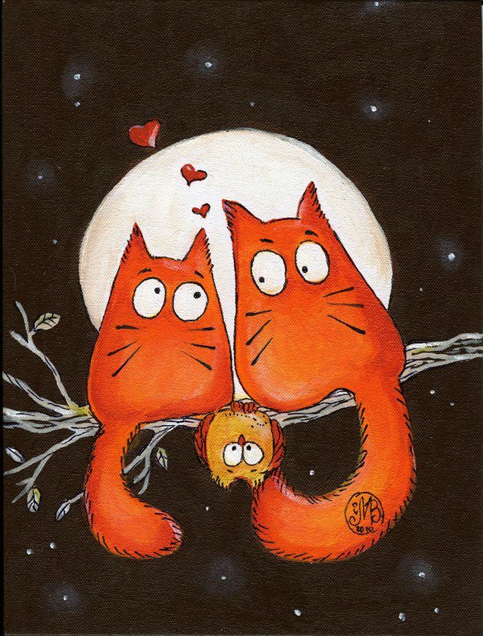 Влюбленные кошки картинки рисованные