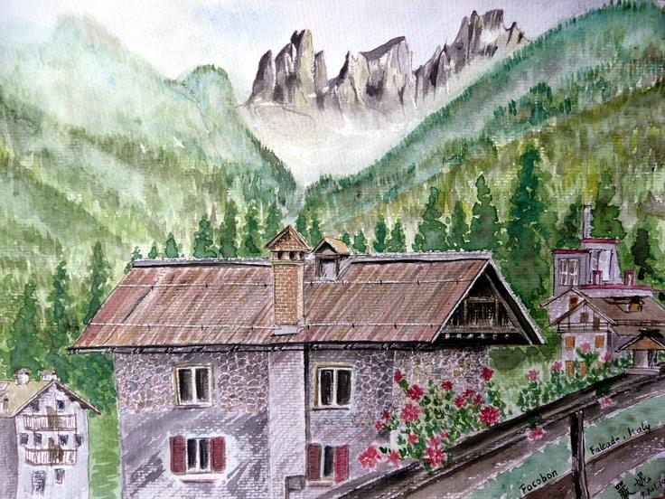 View of Focobon from Falcade, Dolomiti, Italy, July 2010 © Ni Yan