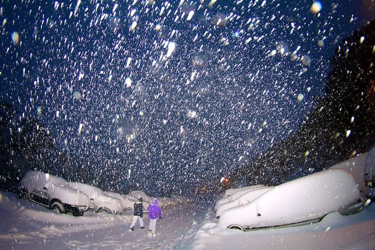 Snowing at night time at Falls Creek snow ski resort in Victoria, New South Wales #snowaus