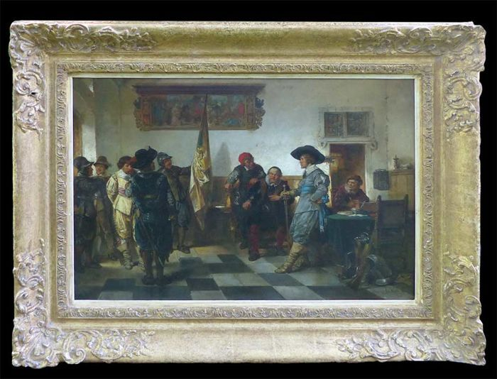 Herman Frederik Carel, or Herman ten Kate, the Elder (16 February 1822 – 26 March 1891) - In the guard room / Deliberations of the troops - 80 year war of independence between Spain and the Dutch Republic