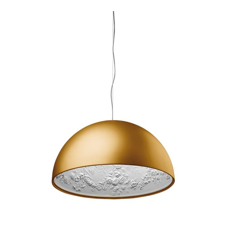 Flos+Skygarden+Matt+Gold+-+Matt+gold+finished+Flos+suspension+diffused+lighting+luminaire. Add+a+touch+of+award-winning+style+with+Flos+Skygarden+Matt+Gold, Previous+winner+of+the+Elle+Decoration+International+Design+Awards+(EDIDA),+this+glossy+gold+finished+pendant+has+a+curved+external+body+with+a+smooth+and+contemporary+finish. A+lovely+contrast+to+the+chic+contouring+of+the+outer+lampshade,+the+inner+shade+features+an+antique+inspired+floral+relief+plaster,+making+this+striking+additi...