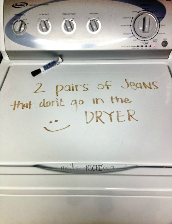 dry erase marker on washing machine as a reminder - why haven't I thought of this!! For my roomie instead of sticky notes!!!