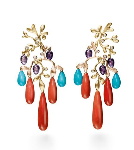 Ole Lynggaard Copenhagen Lotus Gypsy Chandelier Earrings with Coral, Amethyst, Turquoise cabochon drops and diamonds set in 18ct yellow and rose gold - Kennedy Jewellers