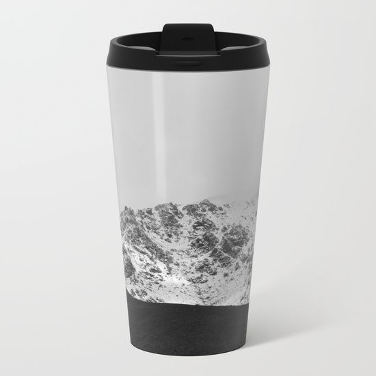 Snowy Mountains Metal Travel Mug by ARTbyJWP via Society6 #metalmug #coffeemug #travelmug #blackandwhite #mountains -  Talk about steely good looks. In addition to a 360-degree wraparound design, our metal travel mugs are crafted with lightweight stainless steel - so they're pretty much indestructible. Plus, they're double-walled to keep drinks hot (or cold), fit in almost any size cup holder and are easy to clean.