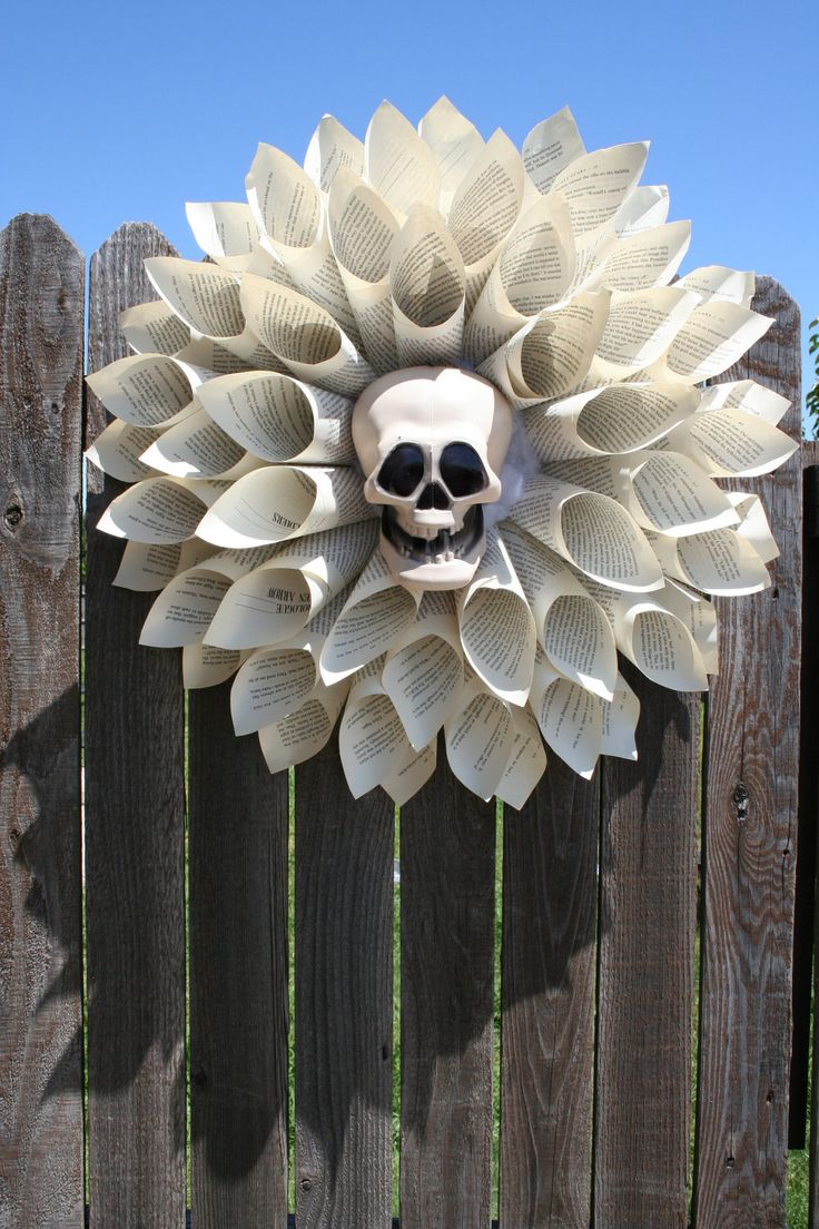Vintage Paper Wreath with Halloween Skull