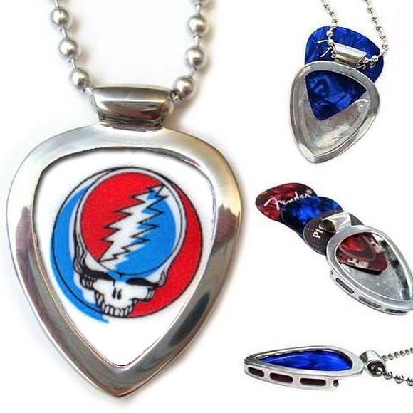 "Pickbay Guitar Pick Holder + GratefulDead Pick set Stainless Steel PICKBAY guitar pick holder pendant necklace set + Grateful Dead guitar pick, + 3 more gemstone color guitar picks. Change picks easily, 1000Necklaces in 1! Stainless steel is shiny & hypoallergenic. Includes: Stainless Steel Pickbay pendant, Ying Grateful Dead pick,polishing pouch & 24"" stainless steel bigger 3.2"" ball chain. Display your favorite guitar picks everywhere! Shiny stainless steel Pickbay will never tarnish. You…"