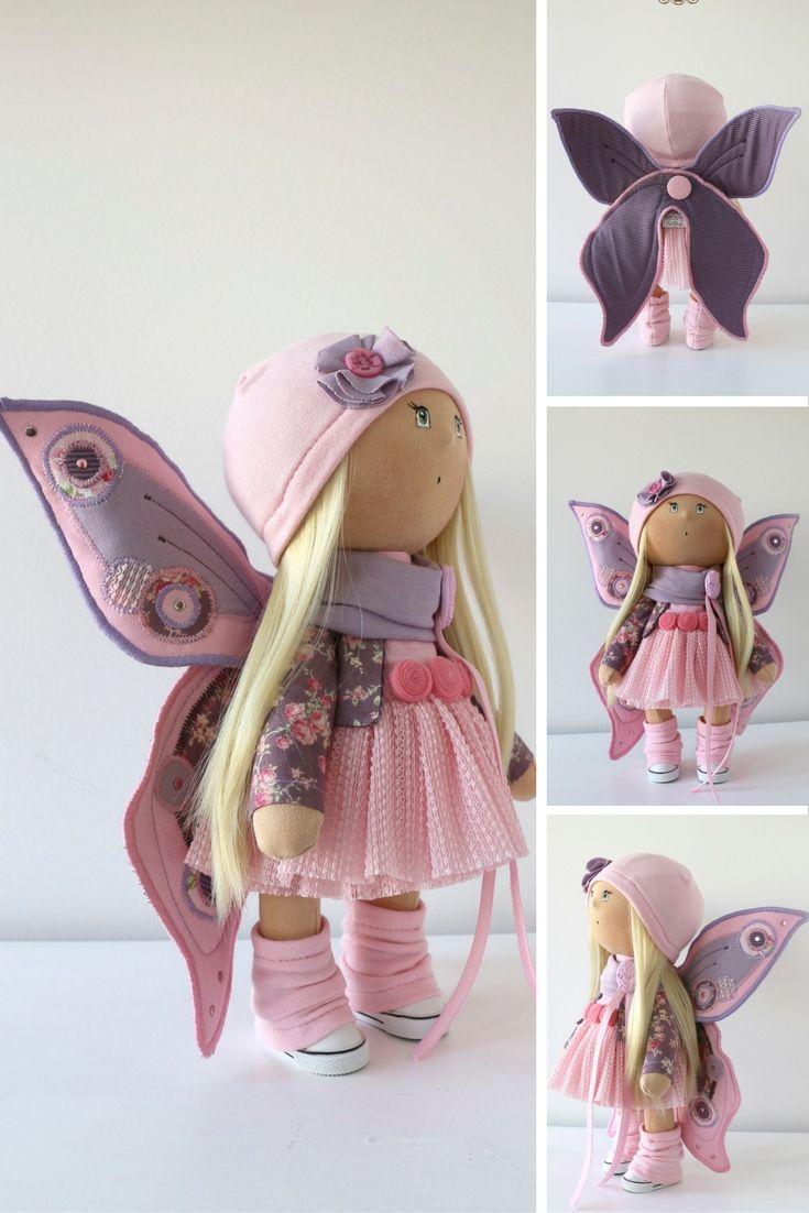 Butterfly doll Tilda doll Art doll handmade pink blonde colors Baby doll Soft doll Cloth doll Fabric doll toy by Master Yulia Postnova