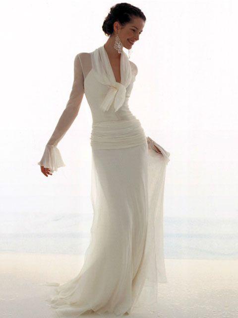 chic and elegant dressWedding Dressses, Chiffon Wedding Dresses, Elegant Dresses, Brides, Stunning Wedding Dresses, Le Spose, Beach Wedding, To Thu, White Gowns